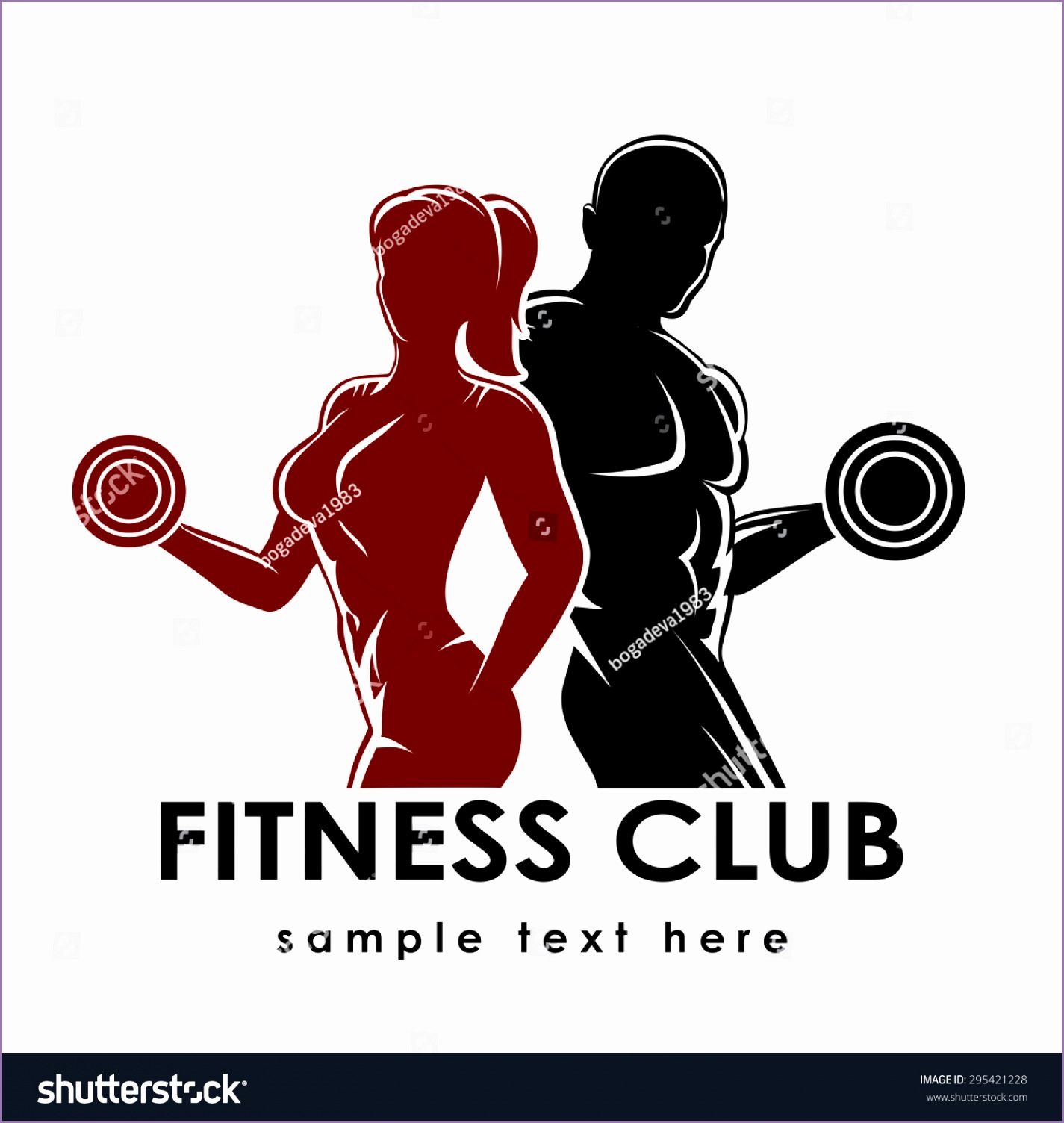 stock vector fitness club logo or emblem with woman and man silhouettes woman and man holds dumbbells isolated
