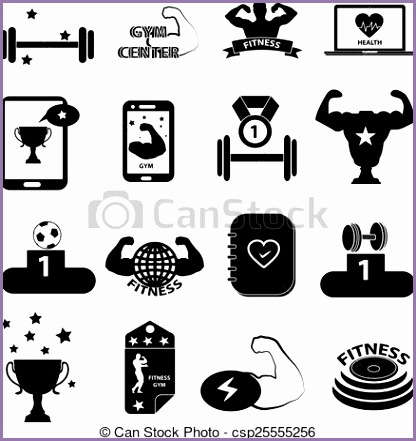 gym fitness icons set clipart vector csp