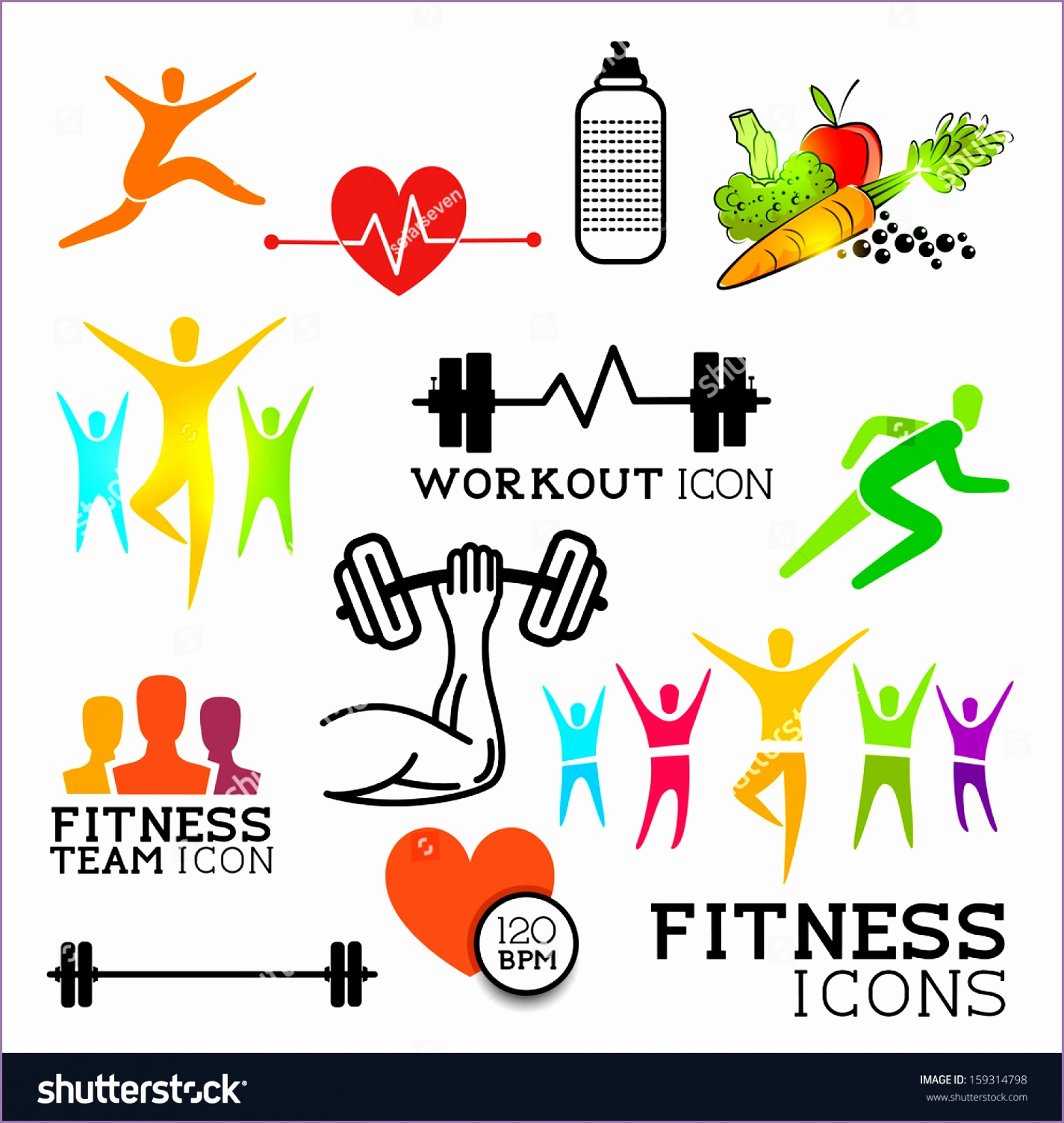 health fitness symbols icons set vector