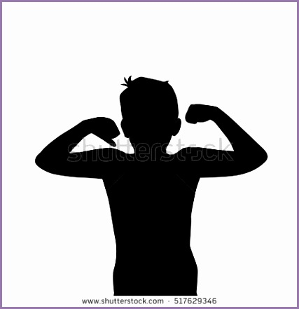 boy silhouette arm strength vector