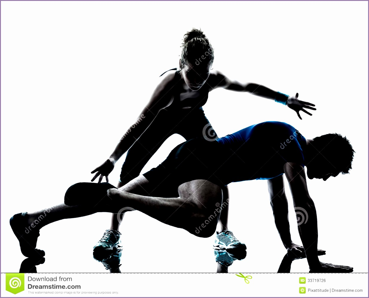 royalty free stock image man woman exercising legs workout fitness one caucasian couple men women personal trainer coach silhouette studio isolated image