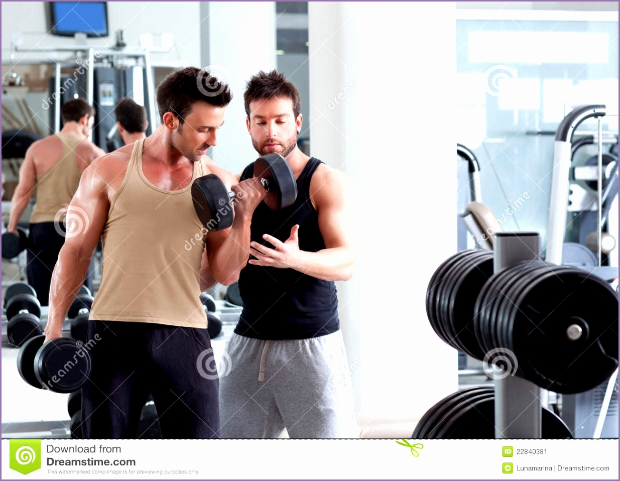 stock image gym personal trainer man weight training image
