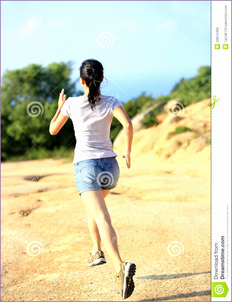stock photo woman running outdoor back young fit asian runner image