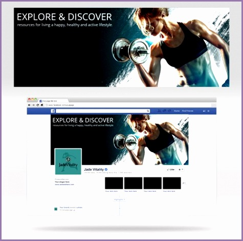 create cover photo female fitness model brand