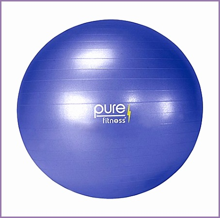 pure fitness 65cm anti burst exercise ball purple