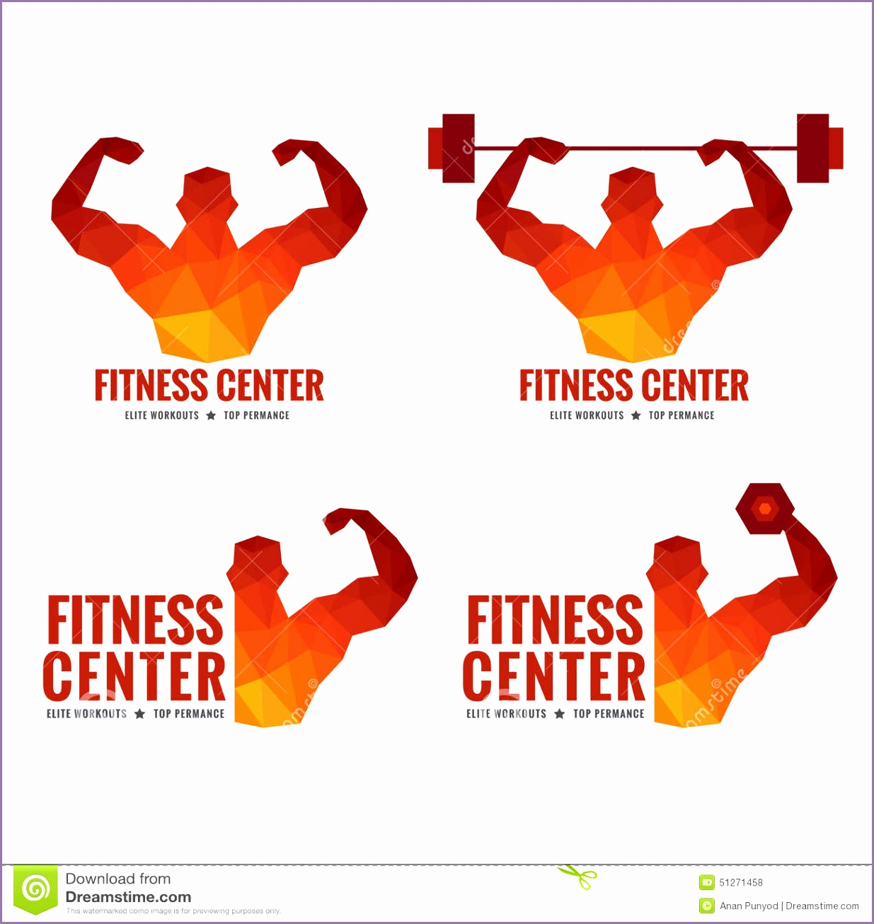 stock illustration fitness center logo men s muscle strength weight lifting low poly art design image