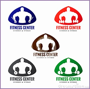 stock illustration fitness center logo style men s muscle strength weight lifting image