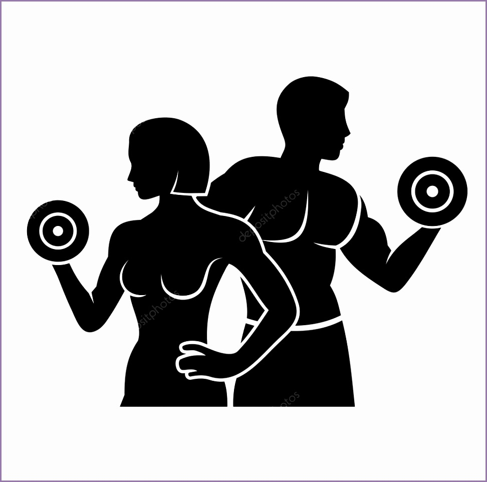 stock illustration man and woman fitness silhouette