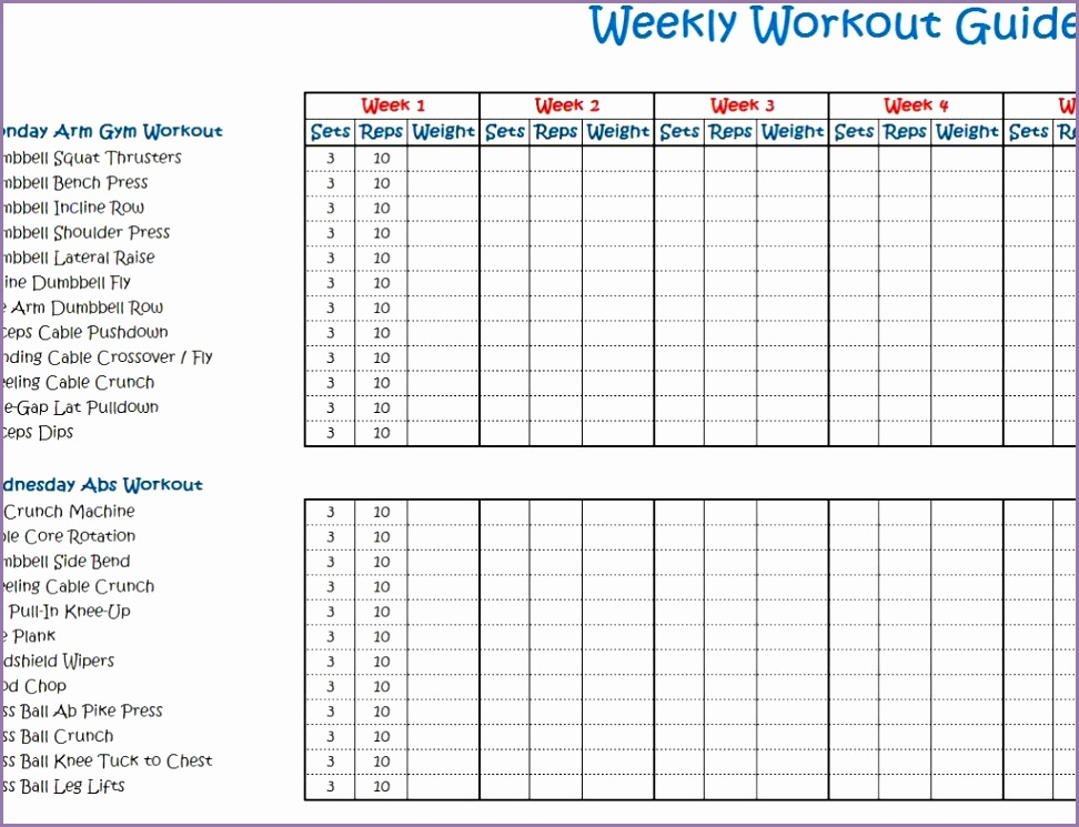 weekly workout program schedule template doc and excel