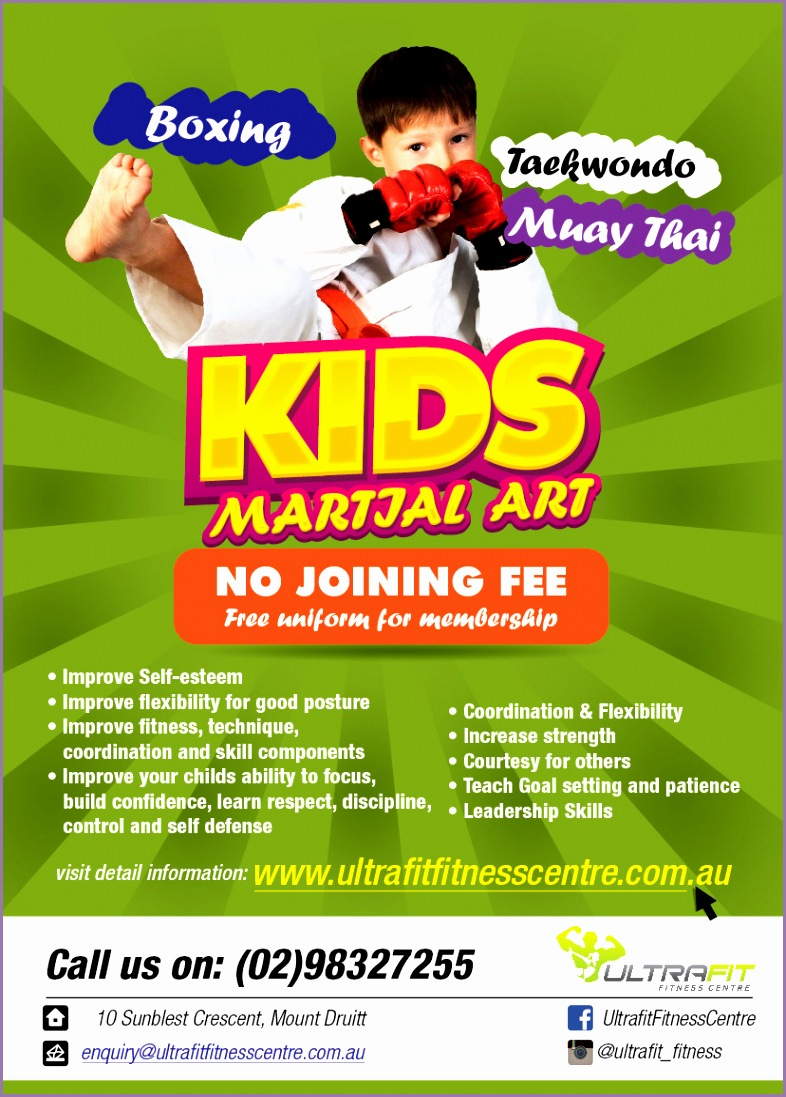 Design a Flyer for Kids Martial Arts Classes
