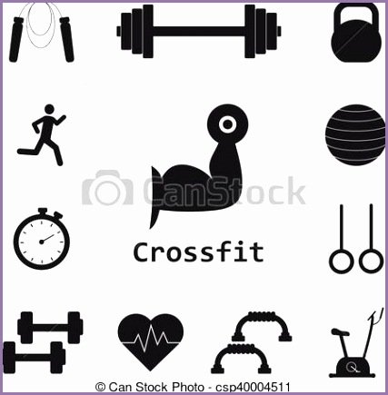 vector set of crossfit icons sport