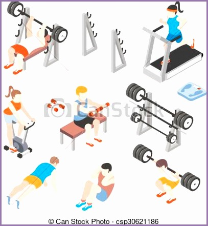 isometric gym workout flat vector set