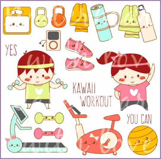 kawaii workout clipart kawaii exercise