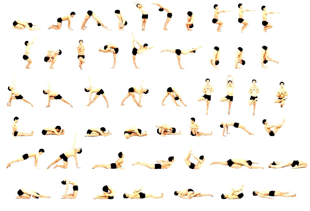 Yoga asanas chart with name